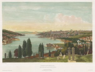 Constantinople: View from the Eyup cemetery, looking from the heights towards the Golden Horn (Halic). After Alexandre Raulin.
