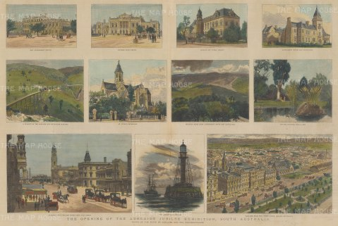 Adelaide: Opening of the Adelaide Jubilee Exhibition. Eleven vignettes of scenes and landmarks.