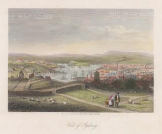 "Bibby: Sydney. c1860. A hand coloured original antique steel engraving. 8"" x 7"". [AUSp724]"