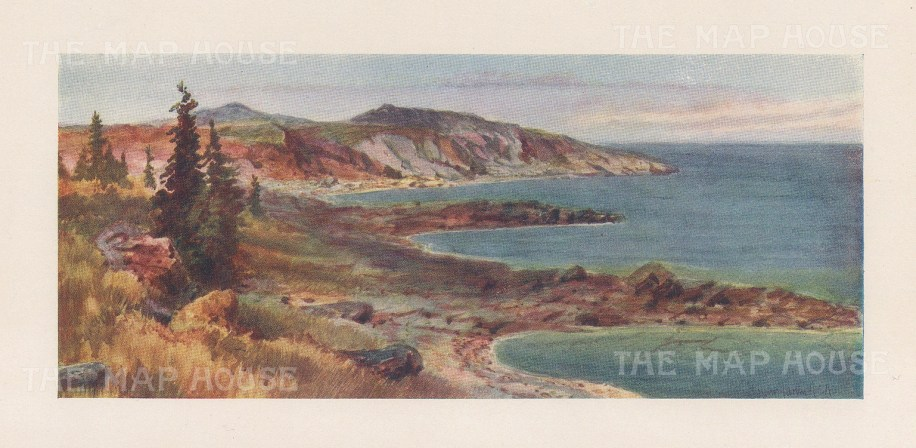 """Mower Martin: Lake Superior. 1907. An original antique chromolithograph. 6"""" x 4"""". [CANp655]"""