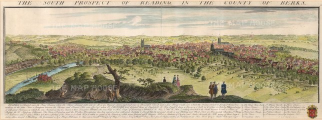 "Buck: Reading, Berkshire. 1741. A hand coloured original antique copper engraving. 31"" x 11"". [ENGp198]"