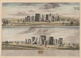"Loggan: Stonehenge, Wiltshire. 1715. A hand coloured original antique copper engraving. 24"" x 18"". [ENGp65]"