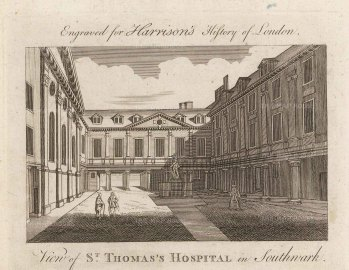 "Harrison: St. Thomas's Hospital. 1775. An original antique copper engraving. 7"" x 5"". [LDNp10332]"