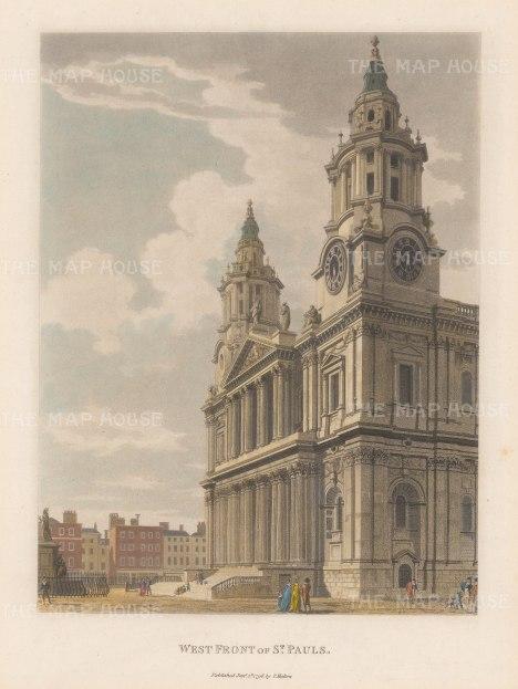 "Malton: St Paul's Cathedral. 1792. A hand coloured original antique aquatint. 11"" x 14"". [LDNp3308]"
