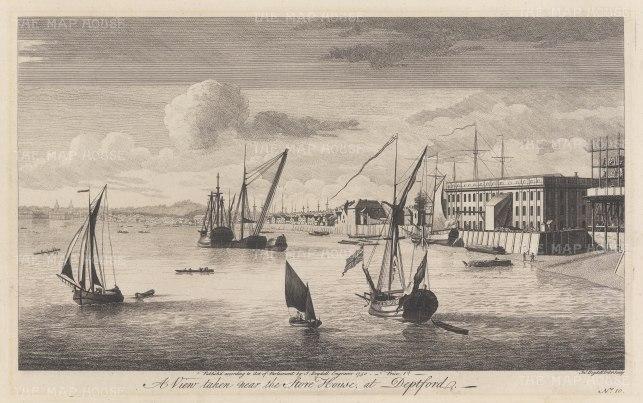 "Boydell: Deptford. 1750. An original antique copper engraving. 17"" x 11"". [LDNp6196]"