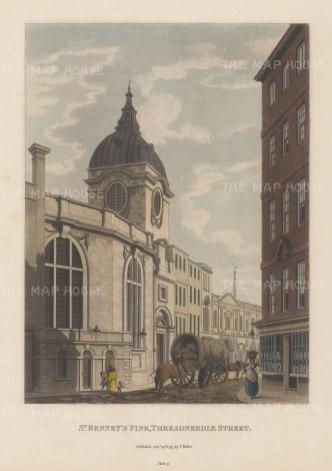 """Malton: St Bennet's Fink, Threadneedle Street. 1797. A hand coloured original antique aquatint. 11"""" x 14"""". [LDNp6502]"""