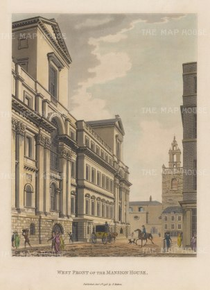 "Malton: Mansion House. 1798. A hand coloured original antique aquatint. 11"" x 14"". [LDNp9065]"