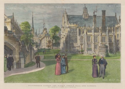 "Graphic Magazine: Middle Temple. 1890. A hand coloured original antique wood engraving. 19"" x 14"". [LDNp9579]"