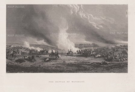 Battle of Waterloo after George Jones RA. Jones served in the Peninsular war, and was noted both for his realistic depictions of military engagements and striking resemblance to Wellington..