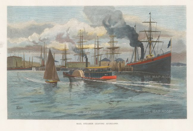 "Picturesque Australia: Auckland. 1888. A hand coloured original antique wood engraving. 11"" x 7"". [NWZp288]"