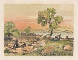 "Lewis: Bosphorus. 1837. A hand coloured original antique lithograph. 14"" x 11"". [TKYp1043]"