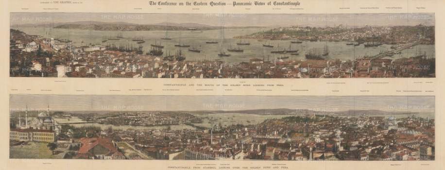 Constantinople: Double panorama of the city and the Golden Horn, looking towards Pera and from Pera. The Conference of 1876 saw Britain and European countries address political reforms in Ottoman territories. With keys