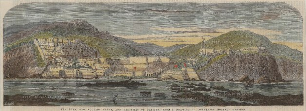 "Illustrated London News: Tangier, Morocco. 1859. A hand coloured original antique wood engraving. 14"" x 5"". [AFRp1267]"