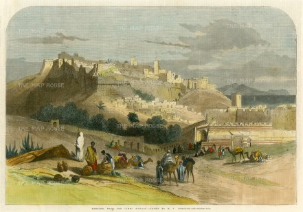 """Illustrated London News: Tangier, Morocco. 1860. A hand coloured original antique wood engraving. 14"""" x 10"""". [AFRp1327]"""