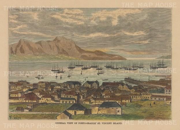 """Reclus: St Vincent, Cape Verde Islands. 1894. A hand coloured original antique wood engraving. 6"""" x 4"""". [AFRp1397]"""