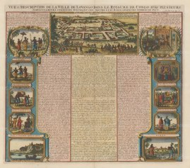 Congo: Panorama of Louango with ten views of inhabitants and environs. Explanatory text in French relating to the Kingdom and its peoples.