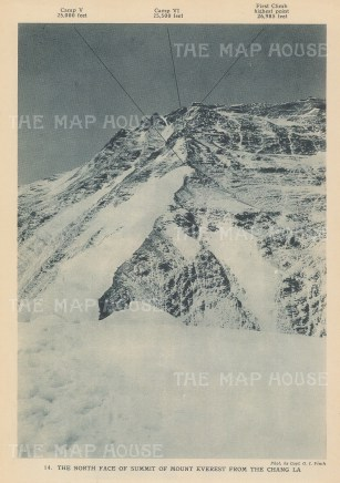 Mount Everest: North Face from Chang La. 1922 British Expedition