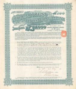 "Car Trust Realisation Company Ltd: £100 share. 1906. An original colour antique mixed-method engraving. 12"" x 14"". [BONDp8]"