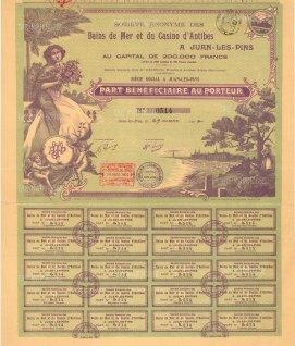 """Assoc. D'Imp.: Bain de Mer et du Casino d'Antibes. Part Beneficiare au porteur. 1912. An original colour antique mixed-method engraving. 12"""" x 15"""". [BONDp11]"""