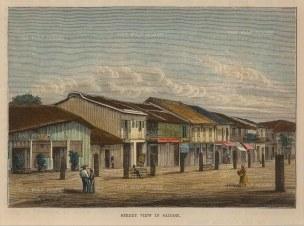 """Brown: Ho Chi Minh (Saigon), Vietnam. 1885. A hand coloured original antique wood engraving. 6"""" x 5"""". [SEASp1031]"""