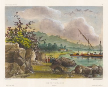 Vietnam: View of the port of Tourane (Da Nang) with traditional fishing boats. After Theodore-Auguste Fisquet, artist on the voyage of La Bonite 1836-7.