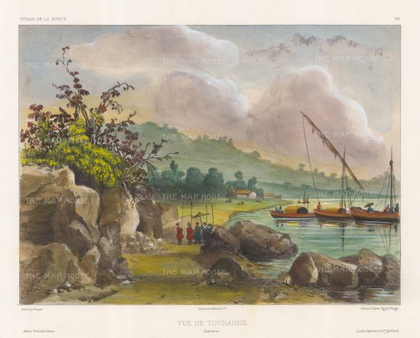 Vietnam. View of the port of Tourane (Da Nang) with traditional fishing boats. After Theodore-Auguste Fisquet, artist on the voyage of La Bonite 1836-7.