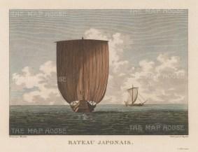"La Perouse: Sampan. 1797. A hand coloured original antique copper engraving. 11"" x 8"". [SEASp1318]"