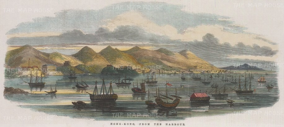 "Illustrated London News: Hong Kong Harbour. 1854. A hand coloured original antique wood engraving. 14"" x 6"". [SEASp1434]"