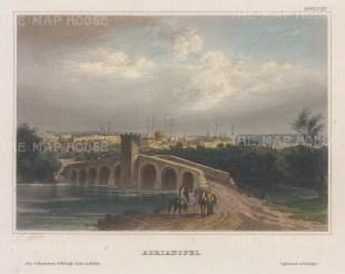 "Meyer: Edirne (Adrinople). 1857. A hand coloured original antique steel engraving. 6"" x 5"". [TKYp1324]"