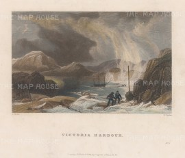 Vancouver Island: View of Victoria Harbour with the HMS Victory at anchor. 2nd Arctic Expedition 1829-33.