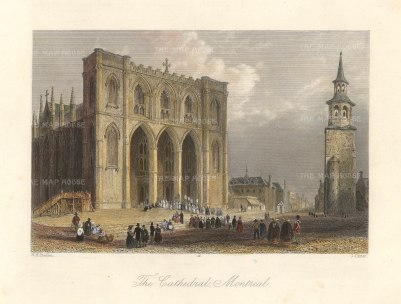 """Bartlett: Montreal Cathedral. 1842. A hand coloured original antique steel engraving. 8"""" x 7"""". [CANp642]"""