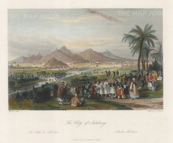 """Wright: Nanjing. 1847. A hand coloured original antique steel engraving. 8"""" x 6"""". [CHNp1140]"""
