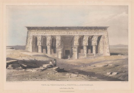 "Head: Temple of Isis, Dendera. 1833. An original colour antique lithograph. 16"" x 11"". [EGYp380]"