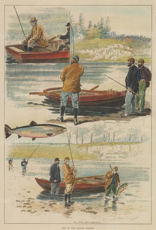 "Illustrated Sporting and Dramatic News: Salmon Fishing. 1891. A hand coloured original antique wood engraving. 9"" x 14"". [FIELDp1149]"