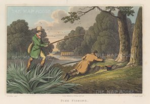 """Alken: Pike Fishing. 1823. An original colour antique aquatint. 12"""" x 9"""". [FIELDp746]"""