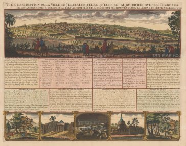 Jerusalem: Panoramic view of Jerusalem: With vignettes of Mount Lebanon, and Tombs of Zechariah, Absalom and the Kings. Text in French.