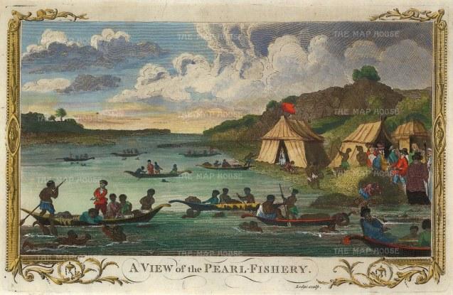 "Millar: Pearl Fishery, Saudi Arabia. 1782. A hand coloured original antique copper engraving. 12"" x 8"". [MEASTp1497]"