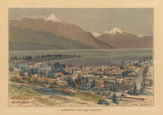 "RESERVED Reclus: Queenstown. 1894. A hand coloured original antique wood engraving. 8"" x 6"". [NWZp289]"