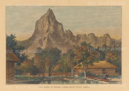 "Reclus: Mount Rutui, Tahiti. 1894. A hand coloured original antique wood engraving. 8"" x 6"". [PLYp255]"