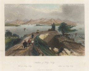 "Wright: Hong Kong Harbour. 1847. A hand coloured original antique steel engraving. 8"" x 6"". [SEASp1673]"