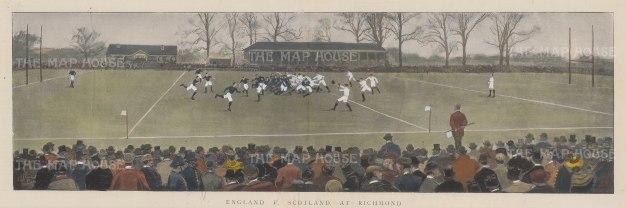 """ISDN: England v Scotland. 1895. A hand coloured original antique photolithograph. 18"""" x 7"""". [SPORTSp2136]"""