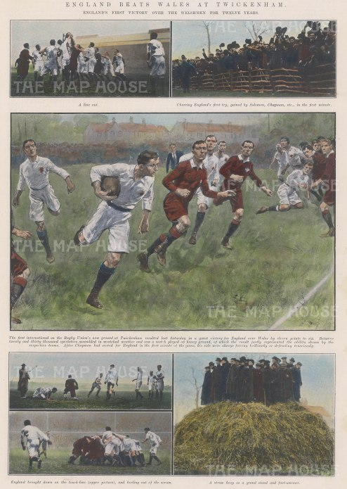"ISDN: England v Wales, Twickenham. 1910. A hand coloured original antique photolithograph. 10"" x 14"". [SPORTSp2899]"