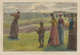 "Illustrated London News: Minchinhampton Common: Minchinhampton Common Ladies' Golf Course.1890. A hand coloured original antique wood engraving. 20"" x 14"". [SPORTSp3346]"