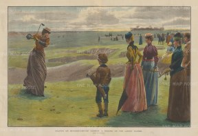 "Illustrated London News: Minchinhampton Common: Minchinhampton Common Ladies' Golf Course.1890. A hand coloured original antique wood engraving. 20"" x 14"". [SPORTSp3645]"