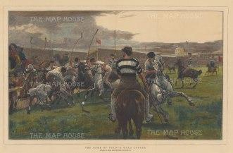 "Illustrated London News: Lillie Bridge Polo Grounds West Brompton. c1880. A hand coloured original antique wood engraving. 20"" x 14"". [SPORTSp3438]"
