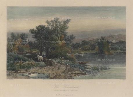 "Picturesque America: Housatonic, Connecticut. 1873. A hand coloured original antique steel engraving. 10"" x 7"". [USAp3977]"