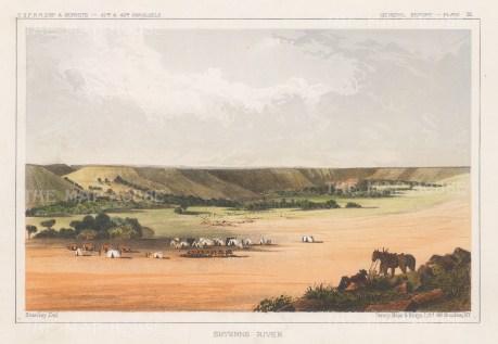 "U.S.P.R.R. Exp.: Sheyenne River, North Dakota. 1857. A hand coloured original antique lithograph. 10"" x 8"". [USAp4176]"