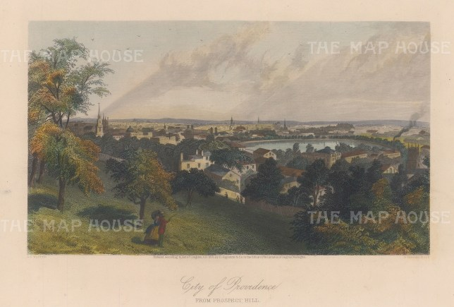 """Picturesque America: Providence, Rhode Island. 1872. A hand coloured original antique steel engraving. 11"""" x 8"""". [USAp4606]"""