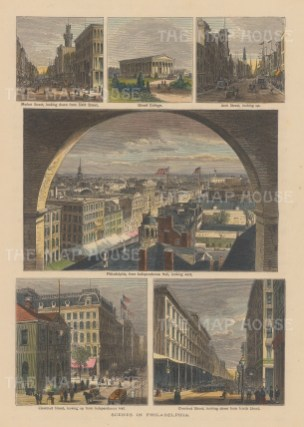"Picturesque America: Philadelphia, Pennsylvania. c1872. A hand coloured original antique wood engraving. 7"" x 10"". [USAp4654]"