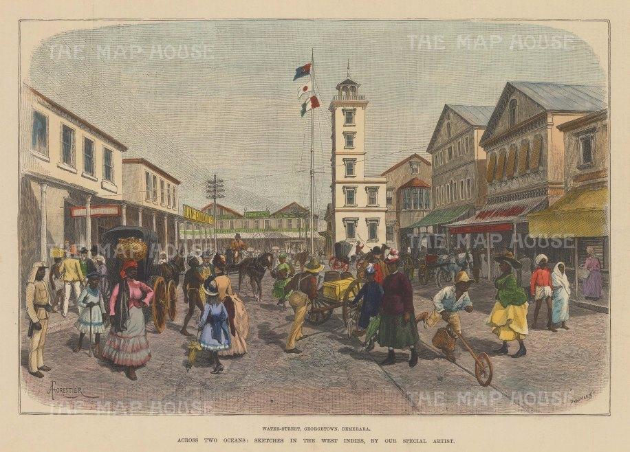 "Illustrated London News: Georgetown, Guyana. 1888. A hand coloured original antique wood engraving. 14"" x 10"". [SAMp1127]"
